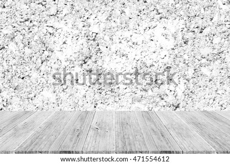 Wall texture surface white color use for background with Wood terrace and world map (Outline elements of world map image from NASA public domain)