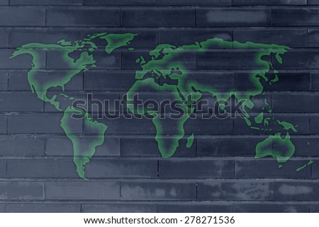 wall texture with glowing world map silhouette - stock photo