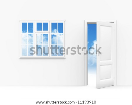 wall windows and opened to sky door on a white background - stock photo