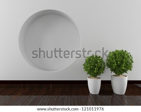 wall with a circular recess - stock photo