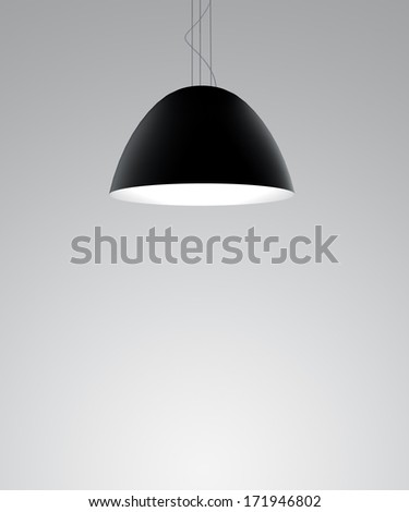 wall with black ceiling lamps - stock photo