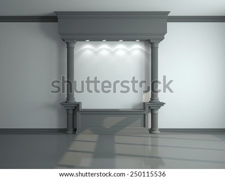Wall with classical columns and moldings. 3d rendering - stock photo