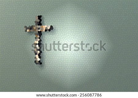 Wall with Cross made in 3d software - stock photo