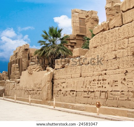wall with hieroglyphs in Egypt - stock photo