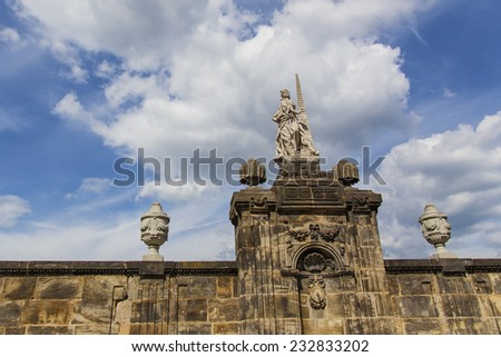 Wall with sculptures at the Domplatz in Bamberg (Germany, Bavaria) - stock photo