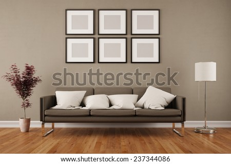 Wall with six empty picture frames in living room under a sofa (3D Rendering) - stock photo