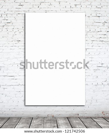 wall with white paper frame - stock photo