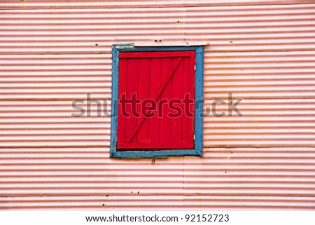Wall with window in La Boca - stock photo