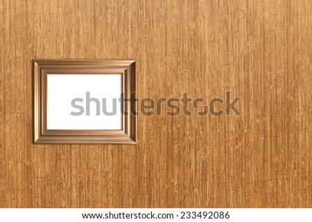 wall wood texture with isolated wood picture frame - stock photo