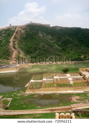 Walled gardens, Amber Fort, Jaipur, India - stock photo