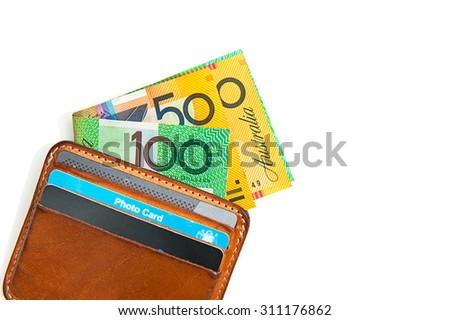 Wallet and Australian currency, coins, bank notes with isolate on white background - stock photo