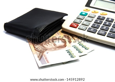 Wallet and bank notes on white background.
