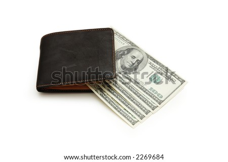 Wallet and dollar notes isolated on white