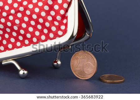 Wallet and last coins - stock photo
