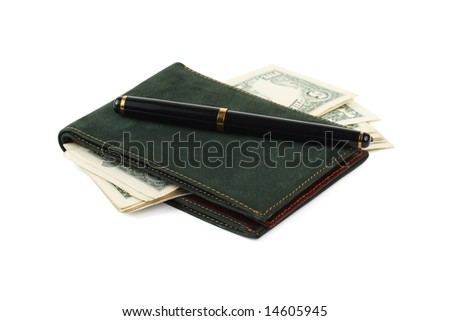 Wallet, banknotes and pen isolated on white background