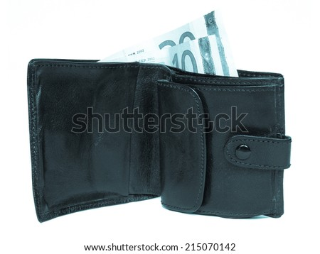 Wallet billfold with euro banknotes over white - cool cyanotype