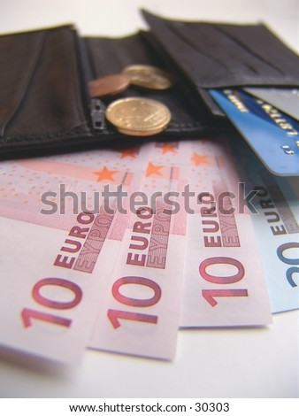 Wallet, eurobills and credit cards