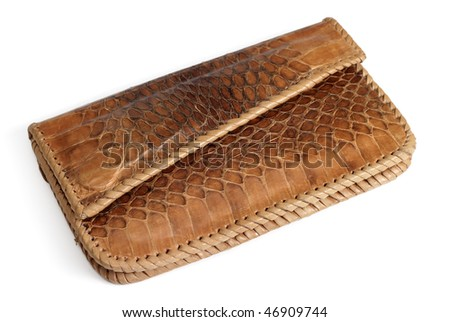 Wallet from crocodile leather isolated over white - stock photo