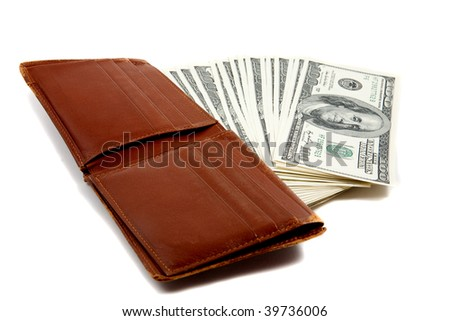 Wallet full of money, lying down flat on white background