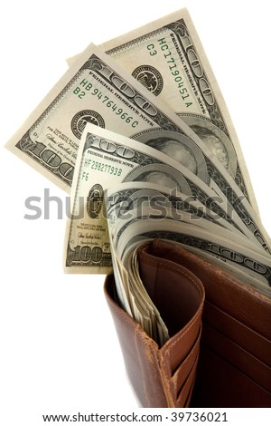 Wallet full of money, with bank notes sticking out - stock photo