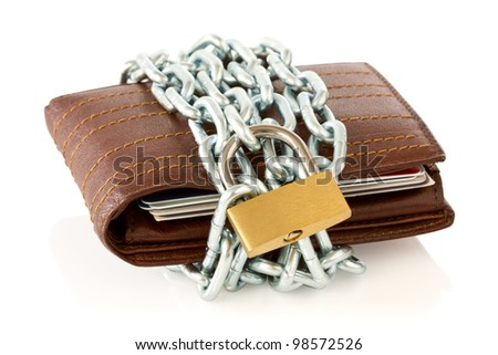 Wallet in chains with padlock on white background - stock photo