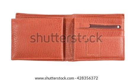 wallet isolated , leather wallet isolated on white background - stock photo