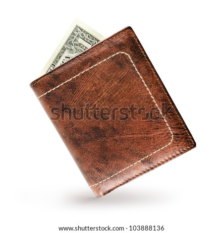 Wallet made of genuine leather over white background - stock photo