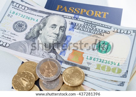 Wallet, money dollars, Euros with passport and isolated on white background. - stock photo