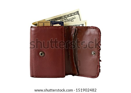 Wallet.Shabby leather wallet with money and credit card