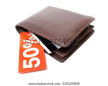 Wallet with a discount label on a white background.