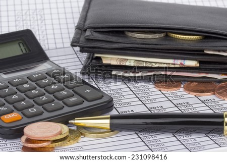 Wallet with banknotes and coins, calculator and pen on paper with financial situation