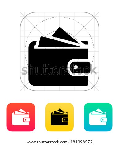 Wallet with cards icon on white background. - stock photo