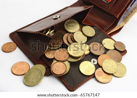 wallet with coins money on the white background - stock photo
