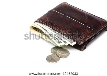 Wallet with couple of $100 dollar bills and coins