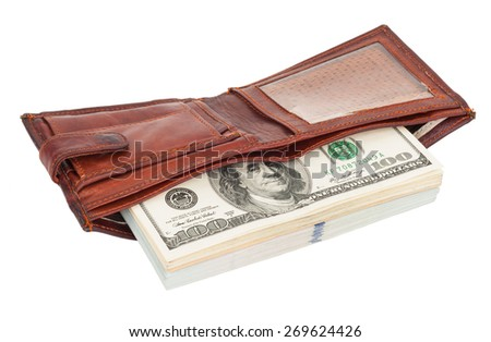 Wallet with dollars - stock photo