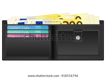 wallet with 200 euro banknote illustration.