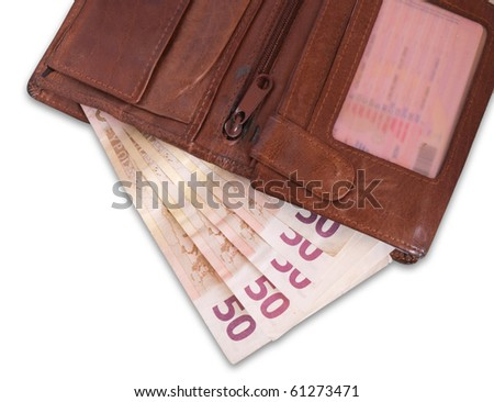 Wallet with Euro banknotes on white - stock photo