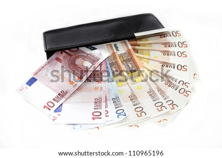wallet with european banknotes - stock photo