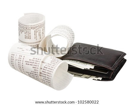 wallet with money and checks from the store - stock photo