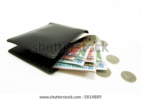 wallet with money and coins - stock photo