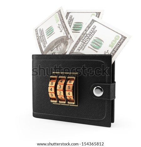 wallet with money and combination lock isolated on white background