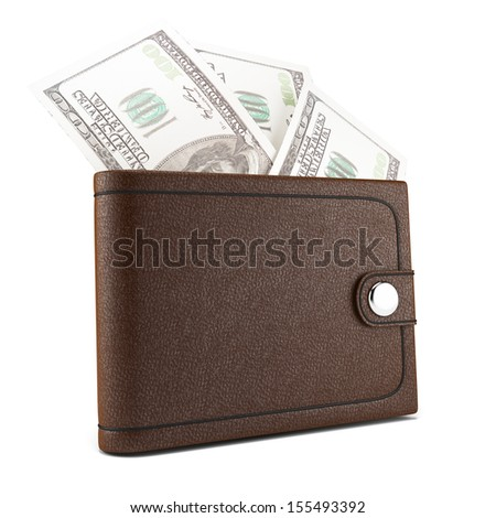 wallet with money isolated on white background. 3d rendered image - stock photo
