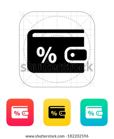 Wallet with percentage icon on white background. - stock photo