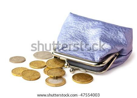 Wallet with pocket money (eurocents and british coins) isolated on white background with shadow - stock photo