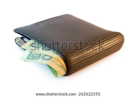 wallet with thai baht - stock photo