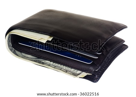 Wallet with US dollar bills and credit cards isolated on white background