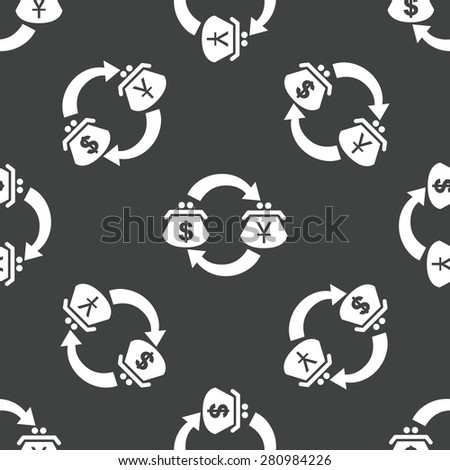 Wallets with dollar and yen symbols on it, repeated on grey background - stock photo