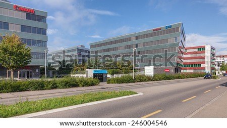 Wallisellen, Switzerland - 4 August, 2014: office buildings on the Richtistrasse street. Wallisellen is a municipality in the district of Bulach in the canton of Zurich in Switzerland.