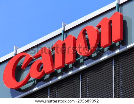 Wallisellen, Switzerland - 12 July, 2015: upper part of the Canon Switzerland office building. Canon Inc. is a multinational corporation specialized in manufacturing of imaging and optical products.