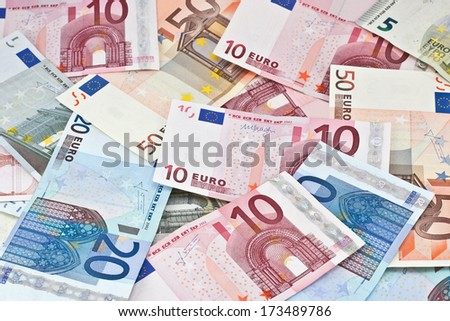 wallpaper created from euro banknotes - stock photo